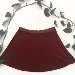 The Limited Burgundy Pleated Skater Skirt